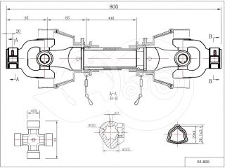 PTO drive shaft complete 20HP (15kW), 800mm, tractor (2)