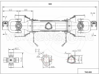 PTO drive shaft complete 34HP (25kW), 900mm, tracto (3)